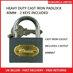 HEAVY DUTY CAST IRON PADLOCK 40MM - 2 KEYS INCLUDED - Lock Security Outdoor