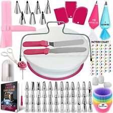 200 Set Cake Decorating Kit Supplies Pieces Kit Baking Tools Turntable Stand Pen