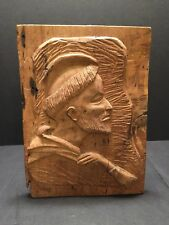 Antique English Worm Wood Carved Relief  Benedictine Monk