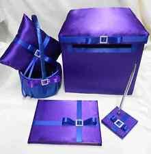 Purple Royal Blue Flower Girl Basket ring Bearer Pillow Guest Book Pen Card Box