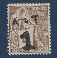 1888 ANNAM & TONKIN STAMP #2 OVERLOADED SURCHARGED 1 ON 4C