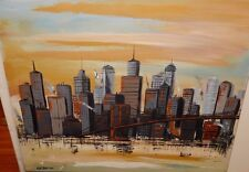 GEBEAU NEW YORK CITY STREET SCENE BUILDING AND BRIDGE OIL ON CANVAS PAINTING