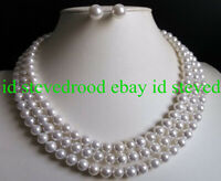 "Beauty 3 Rows 8mm white south sea shell pearl round necklace Earrings 18-20"" AAA"