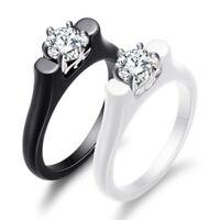 2mm Black/White Ceramic AAA CZ Band Rings Women's Wedding Stylish Ring Size 6-10