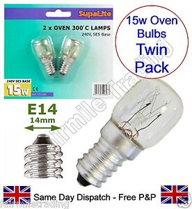 Supalite Twin Pack 2x 300° HT 15W Oven Appliance Light Bulb 240v SES E14 Lamp