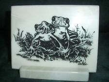 Montana Marble Decorative Plaque Desk Accessory Cultured Etched Frogs 8020
