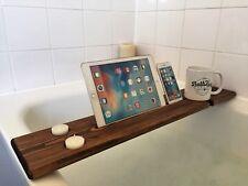 Wooden Caddy Tray Bath Shelf Bar Wine Tablet Mobile Holder Walnut Tudor Oak