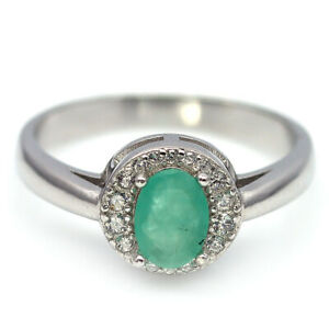 NATURAL 5 X 7 mm. GREEN EMERALD & WHITE CZ 925 STERLING SILVER RING SZ 7.75
