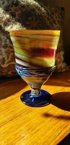 Mid Century 1960s 1970s Complex multi coloured Goblet Vase Attributed to Murano