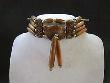 BROWN CHOKER BUFFALO BONE JEWELRY NECKLACE  REGALIA POW WOW TRIBAL