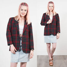 VINTAGE RED CHECK PLAID BLAZER JACKET OVERSIZE CASUAL WOMENS TARTAN CASUAL  8