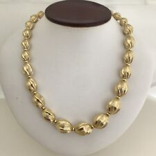 "14K Yellow Gold Milor Textured Polished and Brushed Graduated 18"" Bead Necklace"