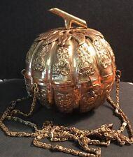 "Vintage Neiman Marcus Brass Pumpkin Purse / Evening Bag ~ Fabric Lined ~ 5"""