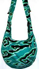 Sac Bandouliere Ethnique Sac à Main Coton Besace Ethnik Bag spirale noir vert