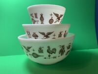 Set Of 3 Vintage Pyrex Early American Pattern Mixing Bowls 401, 402, 403