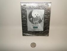 """Dog Fuzzy Buddy Picture Frame, Pewter Pet Frame, Holds 3.5"""" X 5"""" Picture"""