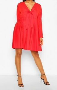 Boohoo Maternity Dress Red Size 14 Tie Pleated Long Sleeve New Tagged