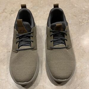Skechers Men's Delson Camben Size 8,Slip On Sneaker - Taupe, New