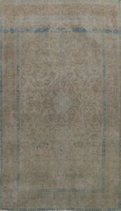 Antique Muted Traditional Distressed Area Rug Evenly Low Pile Hand-knotted 8x12