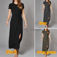 Women Short Sleeve Bodycon Maxi Dresses Ladies Summer T Shirt Dress UK Size 8-26