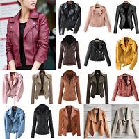 Women PU Leather Jacket Slim Fit Biker Coat Motorcycle Zipper Outwear Casual Top