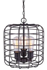 Oil Rubbed Bronze Vintage Cage 3 Light Indoor Pendant/Chandelier