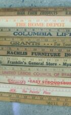 10 VINTAGE WOOD ADVERTISING YARDSTICK LOT FROM PA CT NY NICE MIXED LOT
