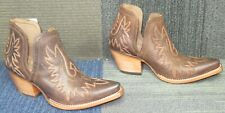 New Wmns ARIAT Dixon Brown Western Leather Ankle Boots sz 9 B