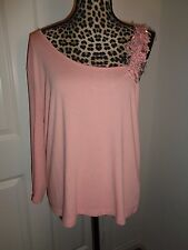 TOGETHER Pink Asymmetrical Sleeves Embellished Top Size XL New