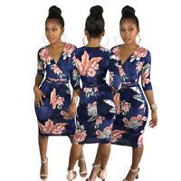 Women's Ladies Sexy V Neck 3/4 Sleeve Print Clubwear Casual Party Bodycon Dress