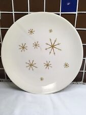 "Star Glow Royal-Ironstone china 10"" plate cracked MCM dinnerware gold starburst"