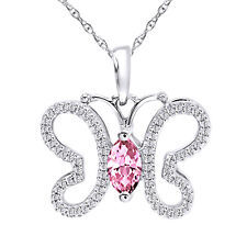 "Round and Tourmaline  Silver Butterfly Necklace 18"" Chain"