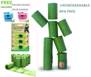 100% Biodegradable Dog Poo Bags Disposable Pet Waste Bag Free Dispenser