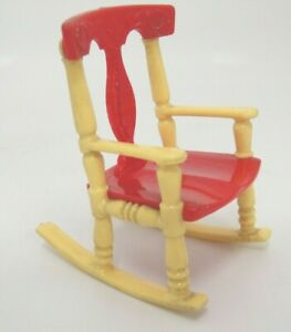 Vintage Dollhouse Furniture Renwal No 65 Red and Yellow Rocking Chair Rocker