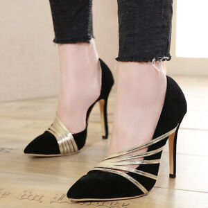 Women High Heel Pumps Slip On Stiletto Faux Suede Wedding Classic Pointy Shoes