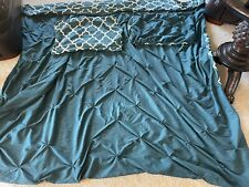 Full/Queen Teal Duvet Cover With Pillow Shams-reversible Euc