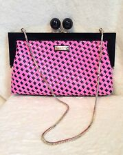 Kate Spade PINK BLACK Woven PATENT LEATHER BALL CLASP Clutch Handbag Gold Chain