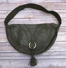 BCBG Leather Boho Purse Army Green Shoulder Hobo Bag Tassel
