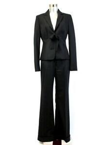 ELIE TAHARI Black Pinstripe WOOL PANT SUIT 2PC Blazer Jacket Bow One-Button S 6