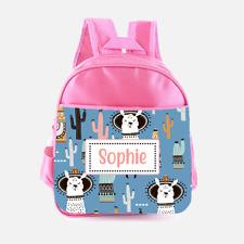 Personalised Llama Alpaca Hat Cactus Girls Kids Backpack Childrens School Bag