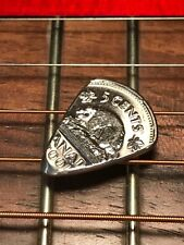 HAND CUT GUITAR PICK FROM A CANADIAN NICKEL FIVE CENT COIN HAND CUT AND POLISHED