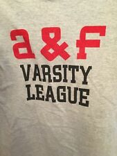 ABERCROMBIE & FITCH 1892 BRAND LOGO MENS GRAY & RED T-SHIRT S VARSITY LEAGUE!!!
