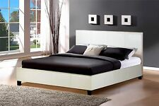 Berlin 5FT 150cm King Size Bed in White Faux Leather Classic Bedstead