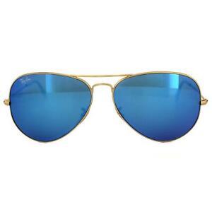 Ray-Ban Sunglasses Aviator 3025 112/17 Matt Gold Blue Mirror Large 62mm