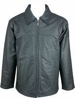 UNICORN Mens Classic Shirt Look Coat - Real Leather Jacket - Charcoal Black #HA