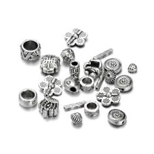 100g Assorted Tibetan Alloy Metal Beads Antique Silver Loose Spacers 6~14.5mm