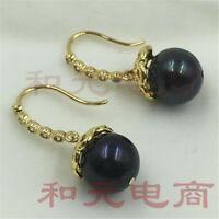 AAA baroque verdigris Green rust 11-13MM HUGE pearl earrings 18K gold plating