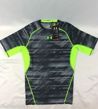 Under Armour MEN'S Athletic Shirt Compression Heat Gear Gray Neon Green Size S