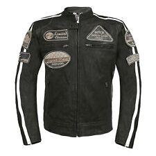 Leder24h Herren Motorrad Lederjacke mit Patches 2071