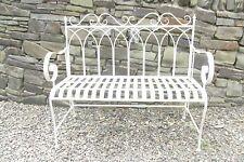 Folding 2 seater metal garden bench - Cream - Kings Gothic design